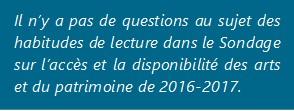 Il n'y a pas de questions au sujet des habitudes de lecture dans le Sondage sur l'accès et la disponibilité des arts et du patrimoine de 2016-2017.