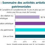 Figure 1 : Sommaire des activités artistiques et patrimoniales. Cette figure illustre les données décrites dans le texte du rapport.